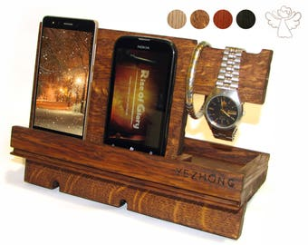 Docking station wood iWatch stand Apple watch dock iPhone holder Phone stand Desk organizer Apple dock station Charging station organizer