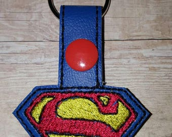 Superman inspired keychain/snap tab or Zipper pull