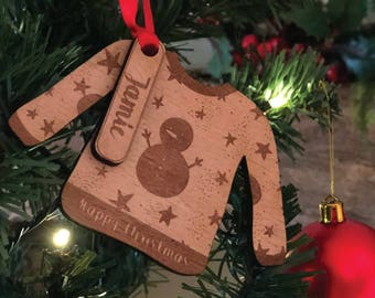 Personalised Christmas Jumper Tree Decoration | Wooden Novelty Bauble Gift