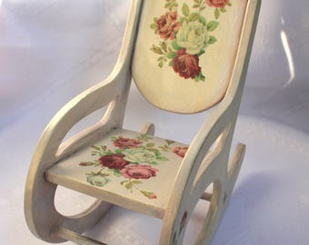 Rocking chair for doll, wooden furniture, dollhouse furniture, wooden chair for Barbie, Doll furniture