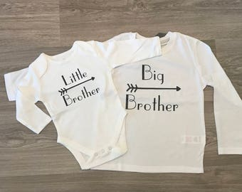 Big Brother, Little Brother, Big Sister, Little Sister matching tops, new sibling, baby shower gift, new baby gift, big and little