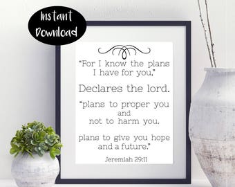 For I Know The Plans I Have For You Jeremiah 29:11 Digital Download INSTANT DOWNLOAD