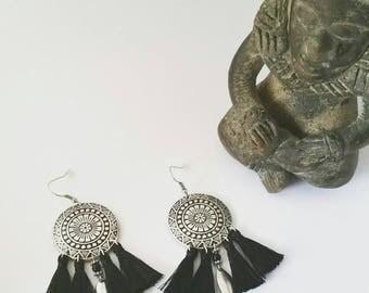 Earrings ethnic boho chic silver and black tassels