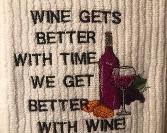 Embroidered Novelty Wine Towel.
