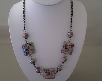 11 inch Purple and black square beaded Chain Necklace
