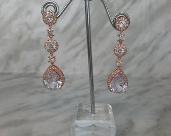 Rose Gold Bridal Earrings, Bridesmaids, Bridal Party, Elegant Teardrop Cubic Zirconia
