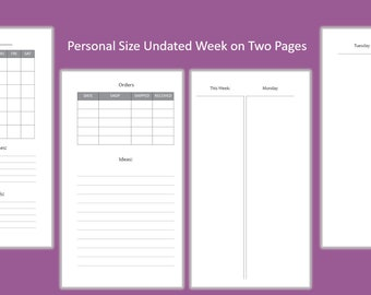 Personal Size Undated Weekly Planner, Week on 2 Pages, Vertical