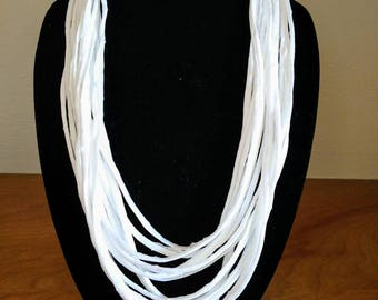 T-shirt necklace, scarf necklace,tshirt necklace, tshirt scarf, fabric jewelry, Unique necklace, layered fabric necklace, gifts for women