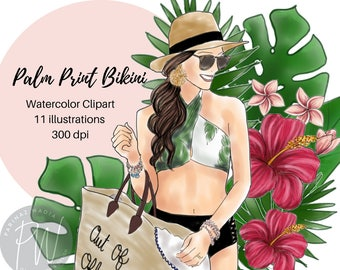 Palm Print Bikini Watercolor illustration Clipart