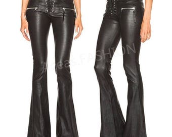 Punk Fashion Women's Faux Leather Bell-Bottom Pants Boot Cut
