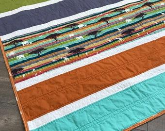 modern baby quilt | safari theme baby quilt | gender neutral quilt | handmade baby shower gift | stripe quilt