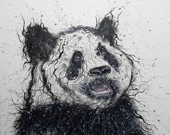 "Panda 19,6"" x 19,6"" Original Oil Painting On Canvas"