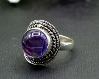 Natural Amethyst Round Gemstone Ring 925 Sterling Silver R169