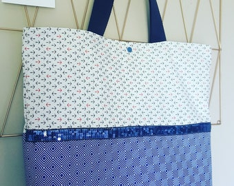 Great beach bag, or tote bag, Navy Blue and white, marine, and printed geometric motifs, Ribbon sequins