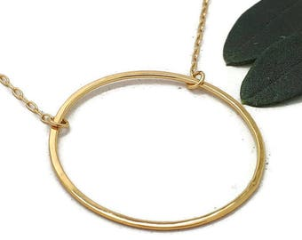 Karma Ring Necklace, Delicate Gold Karma Necklace, Gold Layering Necklace, gift-for-her