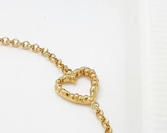 Dainty Gold Heart Bracelet, Heart Bracelet in Gold, Valentines Present, Best Friends Bracelet, Melted Heart Bracelet
