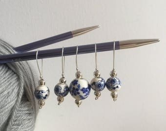 Ceramic Bead Stitch Marker set of five