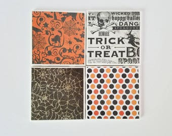 Halloween coasters, set of 4, ceramic coasters, housewarming gift, tile coasters, Halloween decor, black and orange decor