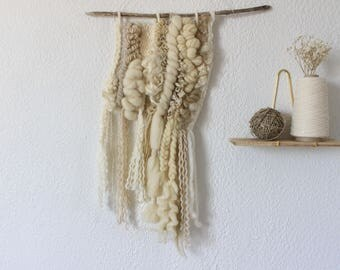 Woven wall hanging - natural woven wall hanging - neutral weaving - ecru and beige wall decor-
