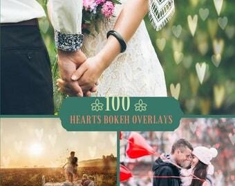 100 Hearts Bokeh Overlays, Photoshop Overlay, Valentine overlays, Wedding Overlays ,Love overlay, Bokeh Lights Overlay, Valentine's day