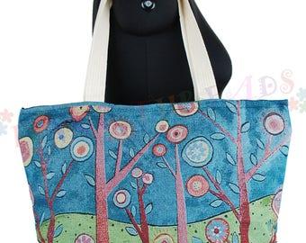 Forest Design Shopper Bag, Beach Bag, Holiday Bag, 100% Cotton