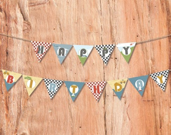 Cars Party Bunting, Kids Party Bunting, Cars Party Supplies, Boys Party, Party Printables, Printable Bunting, Party Bunting, Transportation