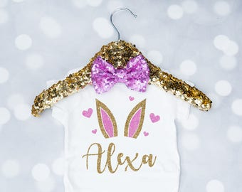 Baby Girl's Personalized Name Easter Bunny Shirt, Toddler Easter Outfit, Happy Easter, My First Easter, Newborn Easter Onesie