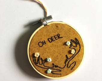 OH DEER Hand Embroidered Wall Decor