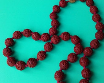 Antique Hand Carved Cinnabar Beaded Necklace 26 inch