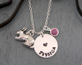 Bunny Necklace, Bunny Name Necklace, Personalized Bunny Necklace, Rabbit Necklace, Rabbit Name Necklace, Personalized Rabbit Necklace
