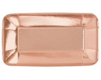Shiny Rose Gold Appetizer Mini Paper Plates/ Rose Gold Party Supplies/ Rose Gold Mini Square Plates/ Rose Gold Rectangle Plates
