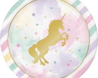 Unicorn Party Plates/ Unicorn Birthday Party Plates/ Pastel Unicorn Party/ Unicorn Plates