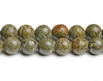 African green jasper 8mm green brecciated jasper brecciated beads alligator skin jasper beads olive beads snake skin beads green skin jasper