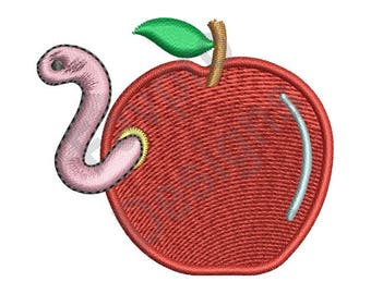 Worm And Apple - Machine Embroidery Design