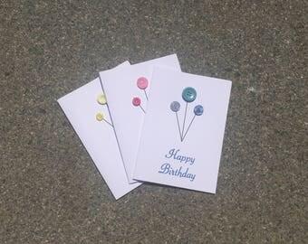 Birthday card, button birthday card, happy birthday card, button ballon card, balloon card, balloon birthday card, minimalist card,