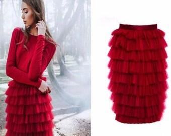 Mid lenght skirt ruffles layer