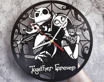 Nightmare before christmas decor, Vinyl record wall clock, Nightmare before christmas party, Jack and Sally wedding, Jack Skellington baby