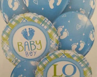 Baby boy balloon bouquet, mix of foil & latex balloons for a baby boy, its a boy balloons, 2 x foil balloons, 5 x latex balloons in a packet