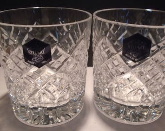 A Pair Of Stuart Crsytal Whiskey Glasses Made In England