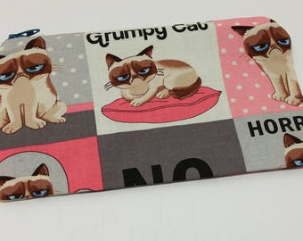 Grumpy Cat Zipper Pouch - makeup bag; pencil case; gift for her; cosmetic bag; carry all; gadget case; birthday; coin purse