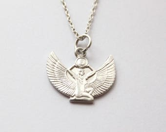 Silver Egyptian Goddess Isis with stretched wings