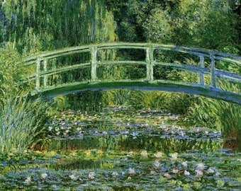 Water Lilies and Japanese Bridge- Claude Monet Oil Painting Museum Quality Reproduction