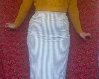 Retro Green and Cream Stripe Pencil Midi Skirt