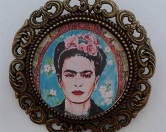 Frida Kahlo Blue and Pink Bronze Brooch