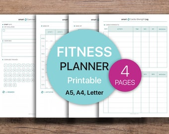 FITNESS Planner, Health Planner, Exercise Tracker, Workout log, Cardio Strength Workouts | PDF Printable, Instant Download - A4, A5, Letter.