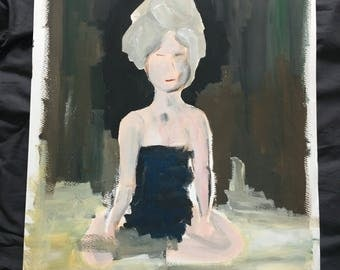 Acrylic, painting, art, original, woman with towel, woman with towel