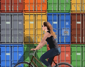 Print bike, illustration colors, decorated bike, illustration summer, digital illustration, art of paret, direct download