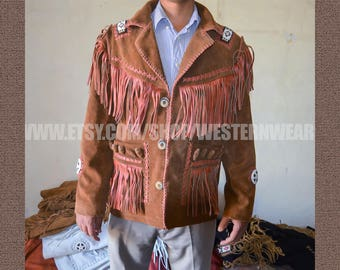 Western native american fringed suede leather jacket and  clothing