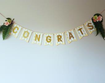 Congrats Tropical Floral Banner/Congratulations/Celebration/Engagement/Wedding/Bridal/Baby Shower/Graduation