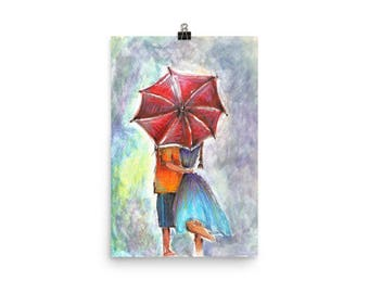 Lovers in the rain watercolor illustration Poster